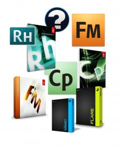 Picture depicting logos and boxes of Technical writing tools