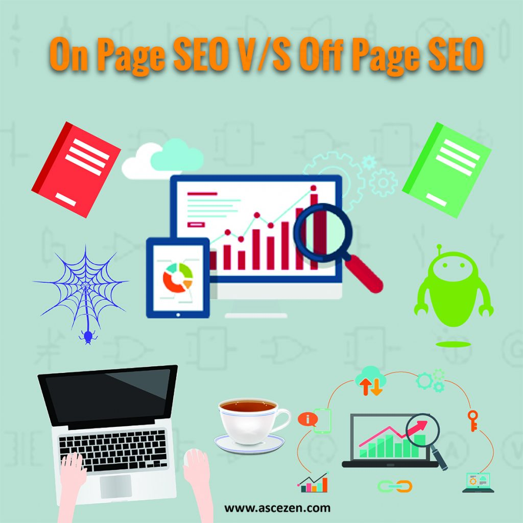 An illustrations with text: on-page seo vs off page seo