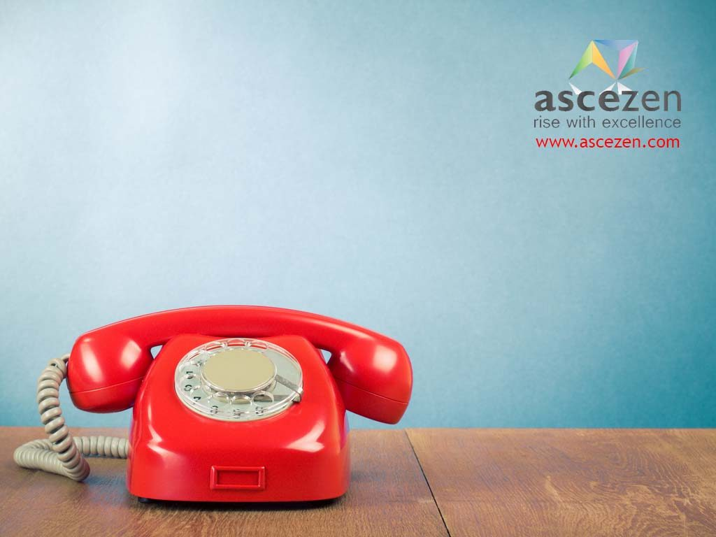 Contact ascezen consulting - a web and content consulting company at Lucknow, India. Image shows a red dial phone to denote contact page.