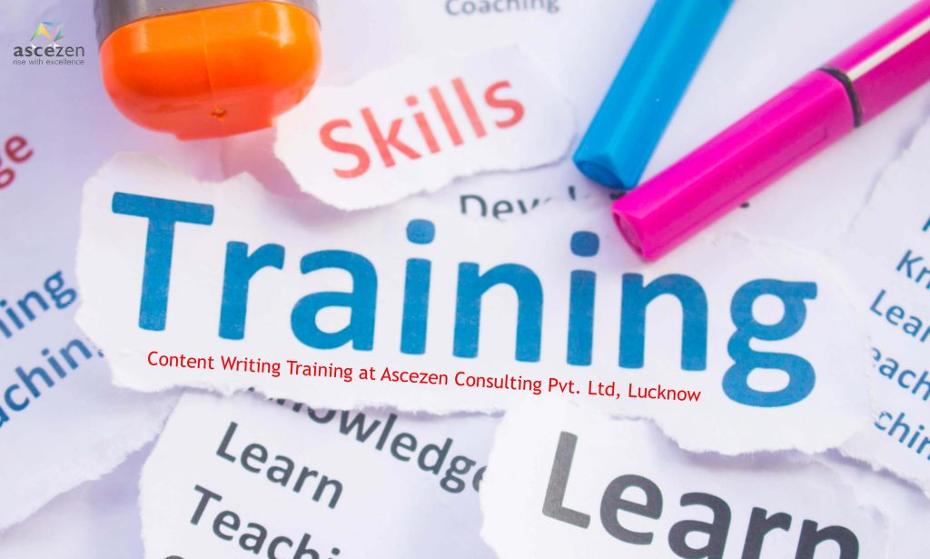 A collage depicting terms related with Training. Ascezen Consulting offers content writing training in Lucknow, India