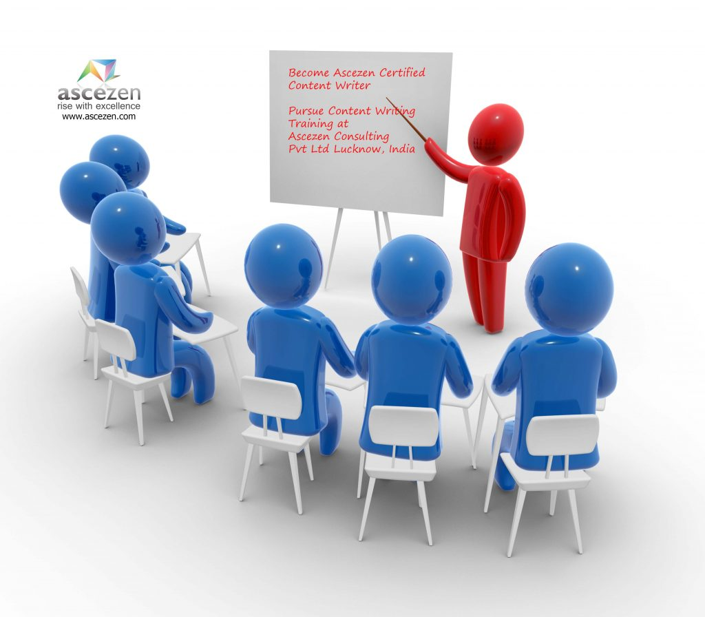 Animated graphic depicting a classroom training in progress as the whiteboard displays text - Become Ascezen Certified Content Writer. Pursue content writing training in Lucknow, India