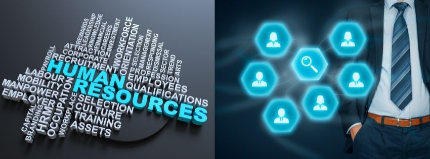 Human Resource Management service banner with a tag cloud listing all HR services within the sphere.