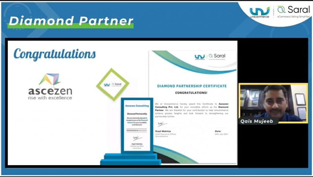 A certificate from Unicommerce to recognize Ascezen as Diamond-partner during Saral 2021 - a virtual eCommerce summit in India